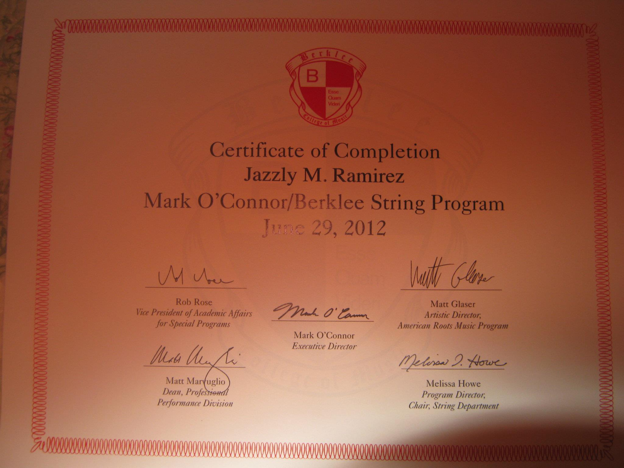 Mark O Connor String Camp Certificate Of Completion Jazzly Mon
